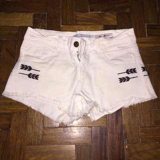 White Bershka Maong Shorts