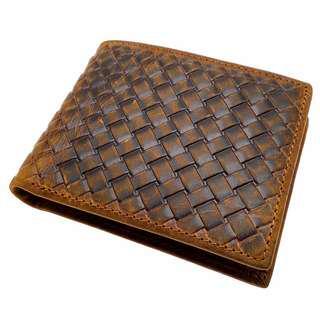 The Ninja Co. Top Grain Leather Billfold Weaved Wallet Business Corporate Card Gifts Men Women Birthday Case Purse Billfold Holder NJ 8845
