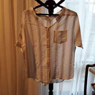Korean Beige Stripe Blouse