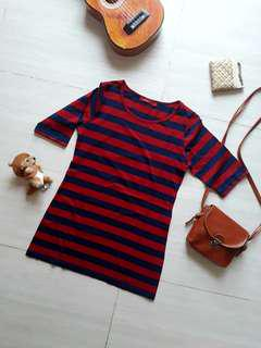 Casual Stripe Navy Red T-shirt