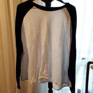 Oversized black and white raglan tee