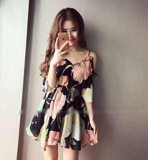 cutout shoulder floral print mini dress