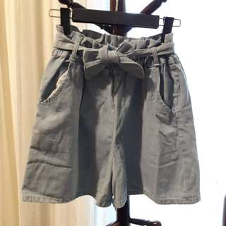 Denim Ribbon Paperbag Shorts