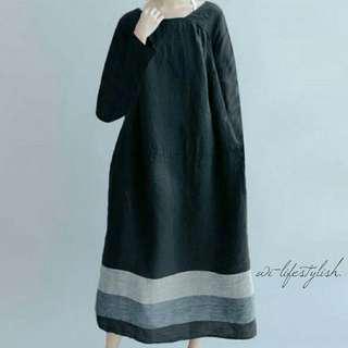 (PO) Black S11 Baggy Dress / Long Sleeve