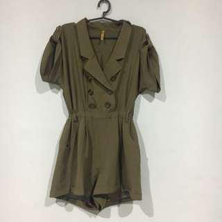 Romper - Army Green Double Breasted Romper