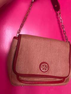 Beige and Red and Pink Tory Burch Bag