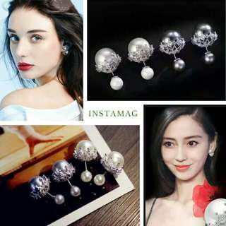 S925 Sliver Micropave Tribales Earrings Double Sided Wear 純銀微鑲梨花雙面貝珠耳環1物2戴