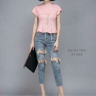 REPRICE PINK ROPE TOP ( NEW WITH TAG )