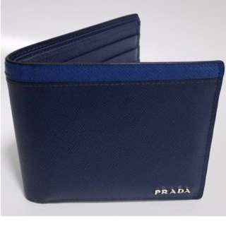 Authentic Prada Saffiano leather Blue wallet for sale
