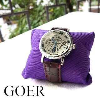 Goer Dark Brown Wristwatch Watches / Jam Tangan Coklat Tua Silver