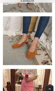 🚚 後綁蝴蝶結 藍色 小粗跟 小跟 涼鞋 高跟鞋 24公分 版型正常 霧藍 跟高4cm 全新