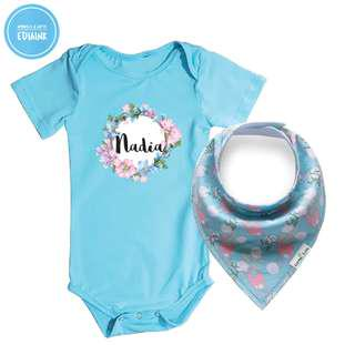 Personalized Baby Romper and baby bandana - Floral Wreath Design