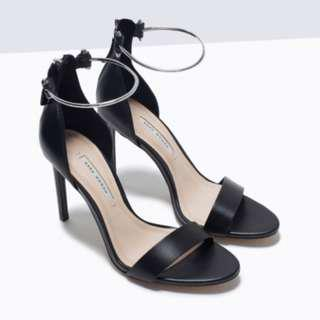 Zara heels with metal ankle strap
