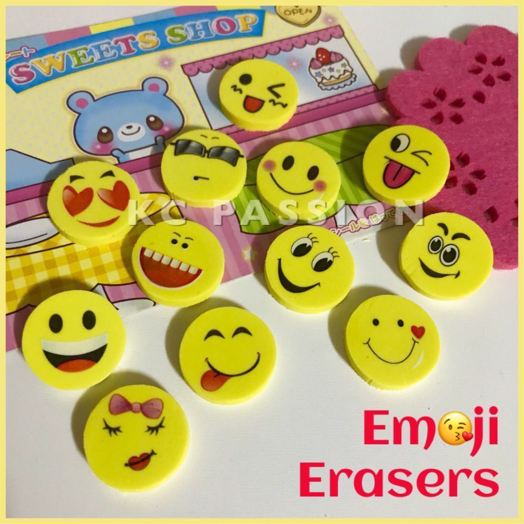 EMOJI O SMILEY ERASERS For Goodie Bags Loot Birthday