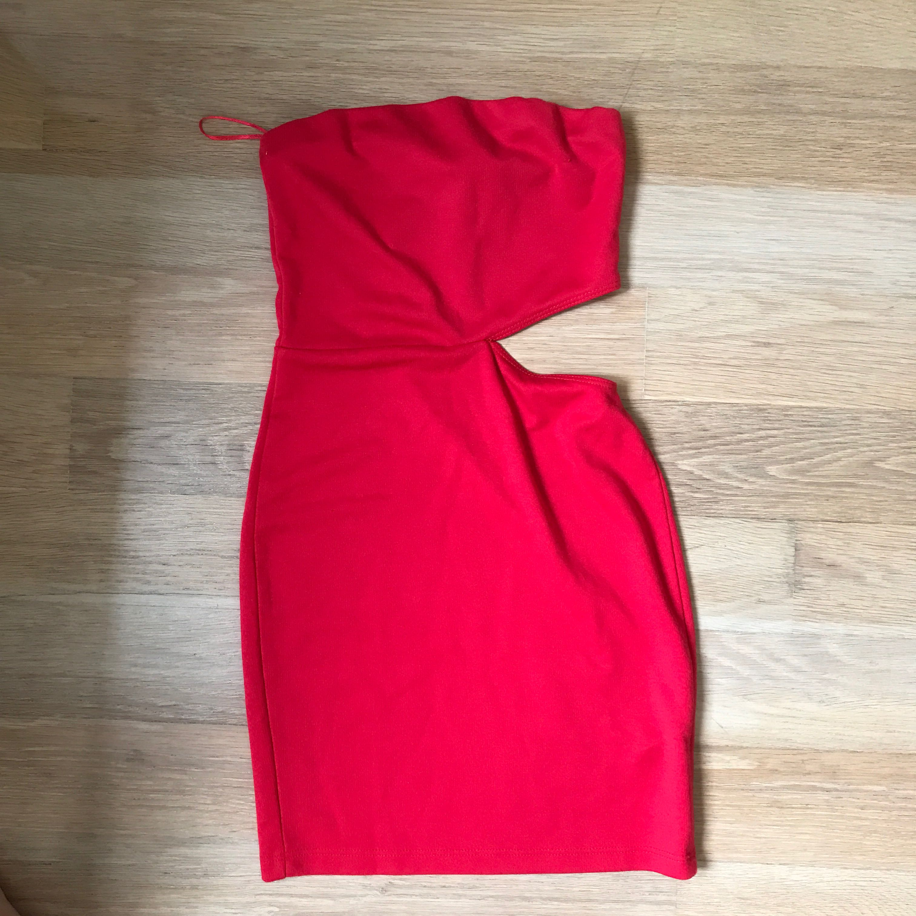 5727e63f39 Asos red cut out tube dress strapless