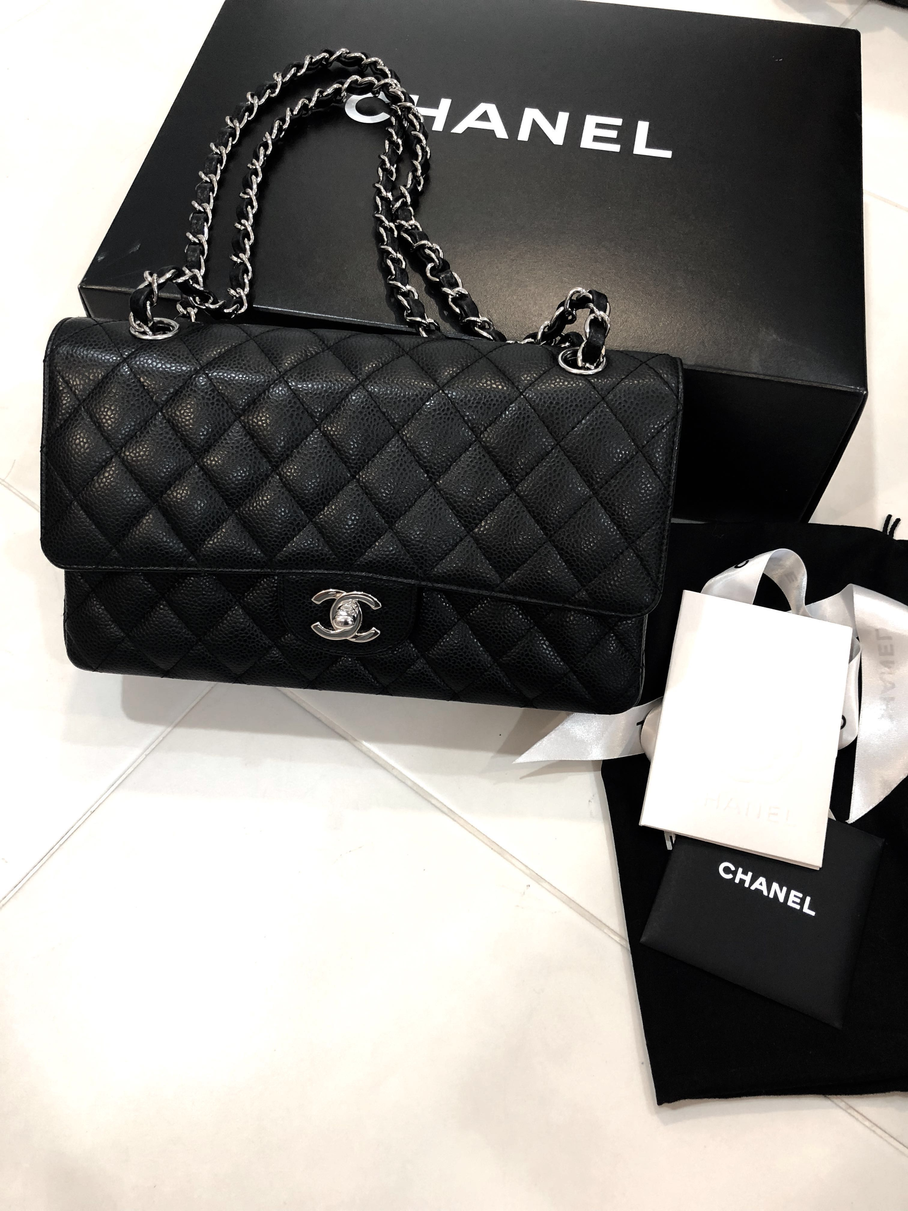 146421024a50 Chanel Medium Flap SHW with official receipt, Luxury, Bags & Wallets ...