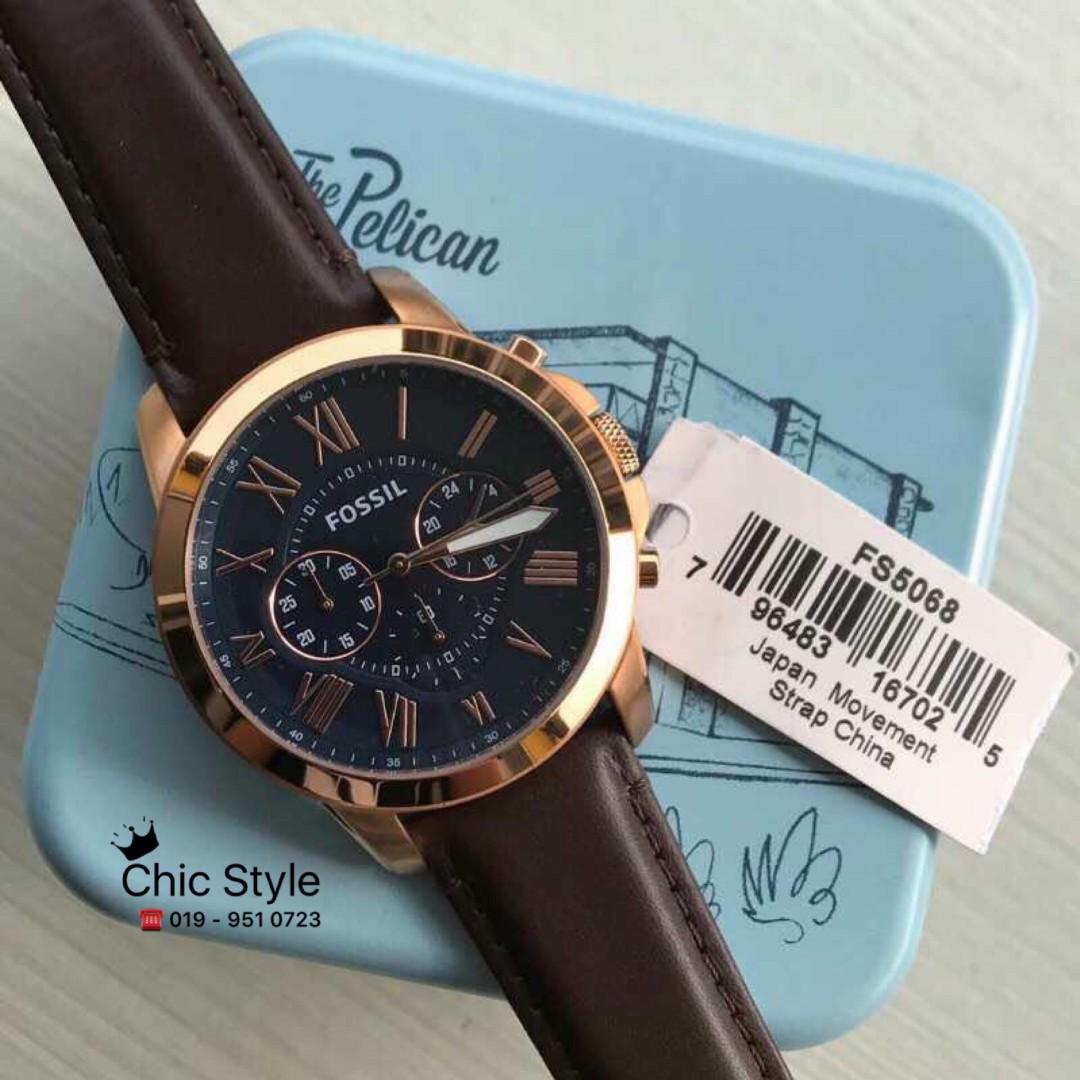 Fossil Original Ready Stock Fs5068 Grant Chronograph Brown Leather Watch Fesyen Lelaki Jam Tangan Di Carousell