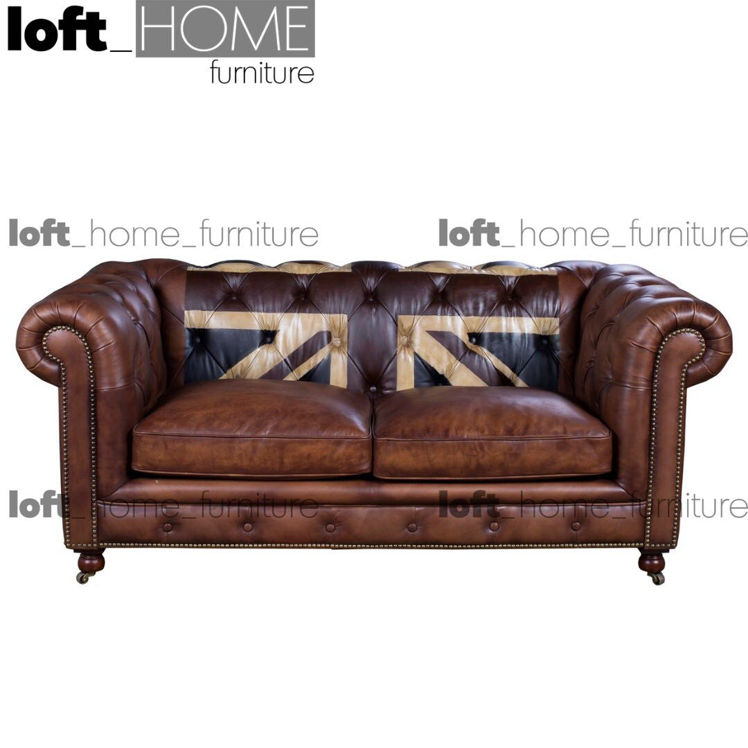 Picture of: Full Genuine Leather Chesterfield Sofa Union Jack 2 Furniture Sofas On Carousell