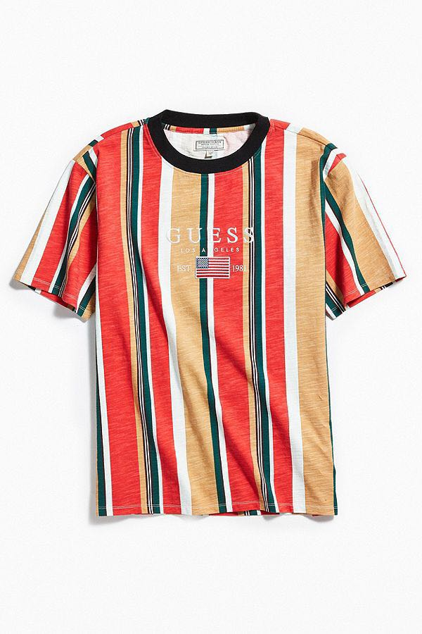 18f417d40d Guess David Sayer Stripe Tee, Men's Fashion, Clothes, Tops on Carousell