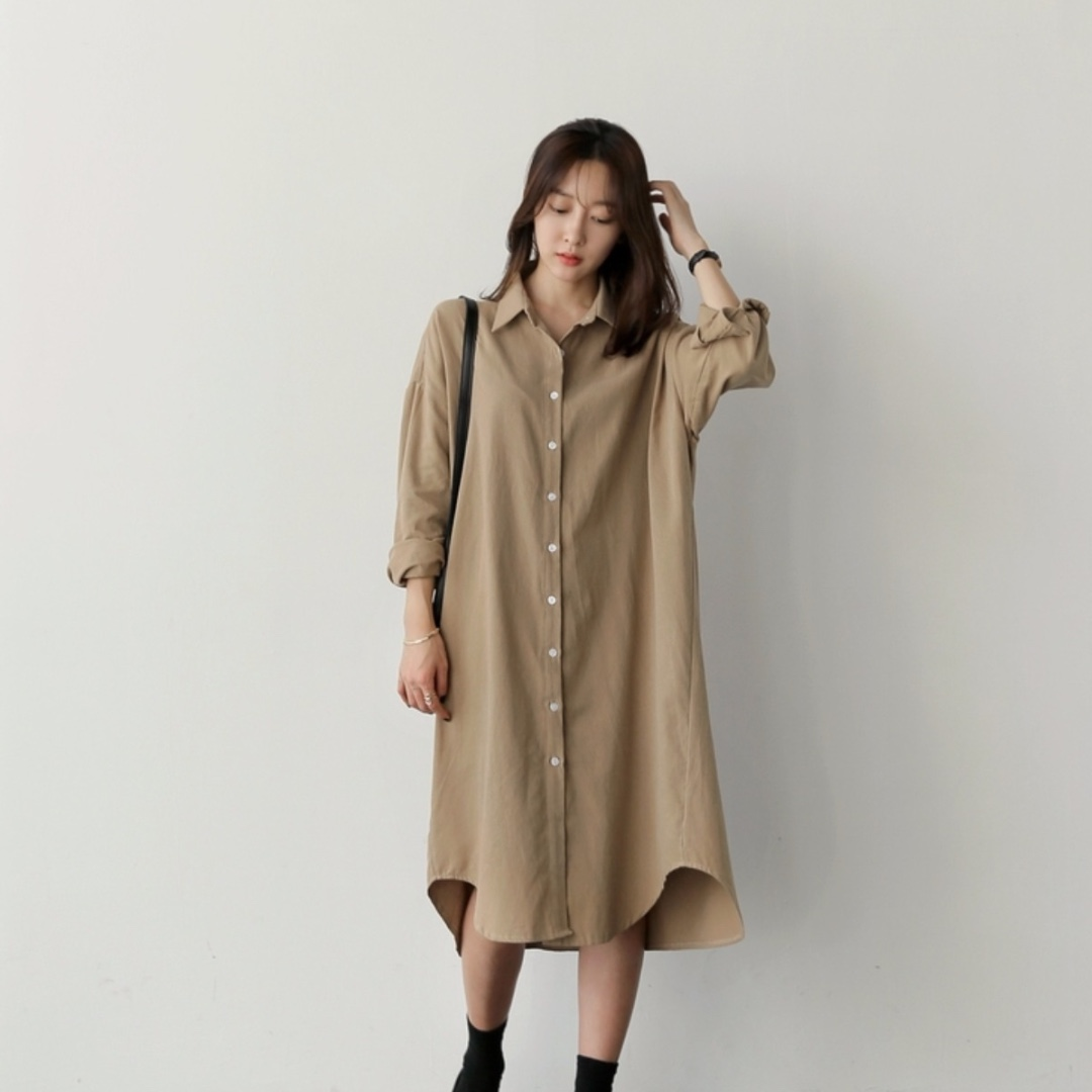 c7b53dc6367 Khaki Oversized Button Down Shirt Dress
