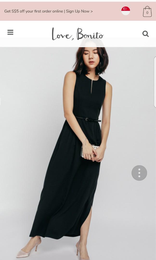 ff344470686 Love bonito Delgiy Ruched Keyhole Maxi dress Black