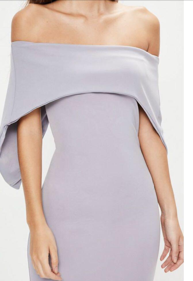 Missguided Size 0 Lilac Fold Over Bandeau Midi Dress