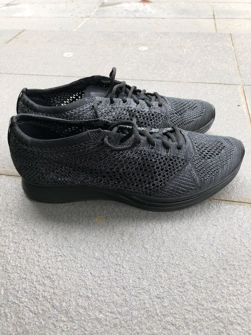 942e3a0a9f92 Nike Flyknit Racer Triple Black Running Shoes Men s US 9