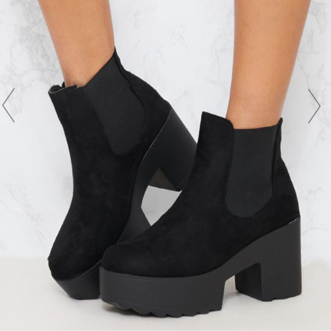 PLT Black Chunky CHELSEA Ankle Boot