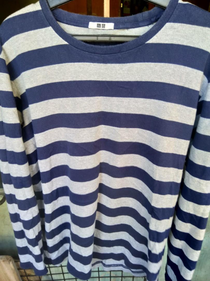 2f8580db Uniqlo MEN Washed Striped Long Sleeve T-Shirt, Men's Fashion ...