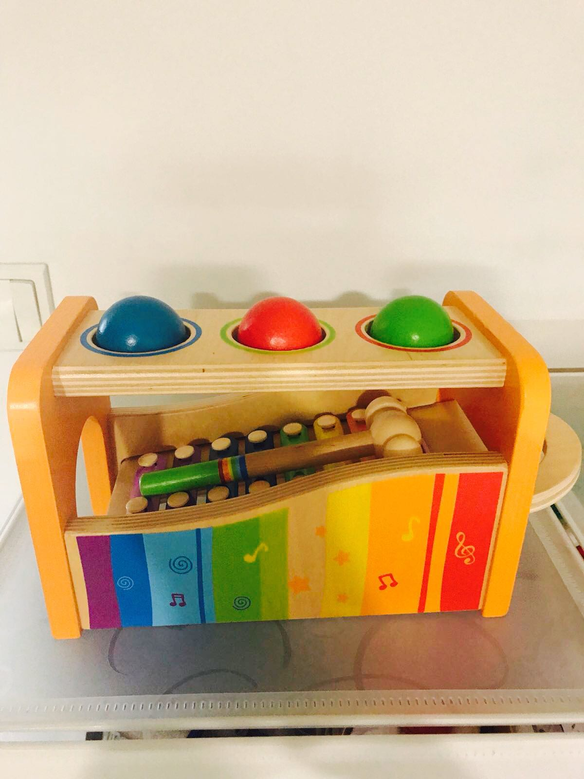 wooden detachable xylophone with 3 coloured wooden balls