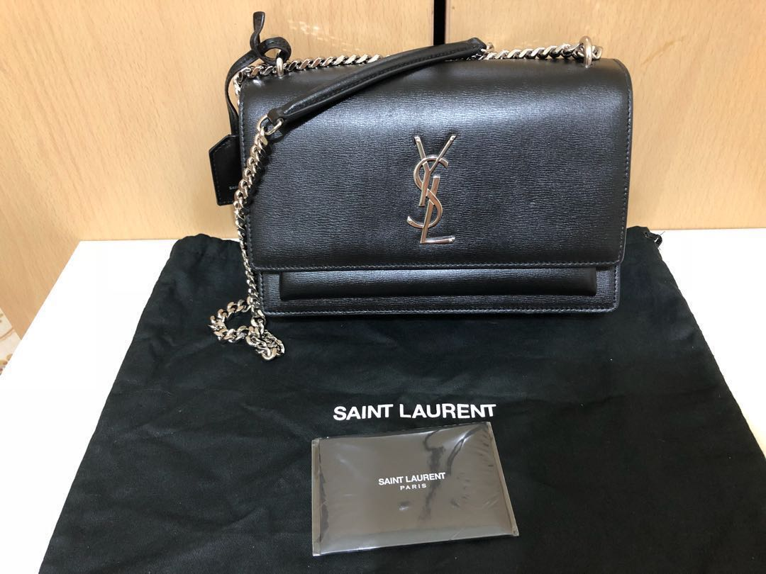 YSL -MEDIUM SUNSET BAG IN BLACK LEATHER(used not more than 3times ... b6bc7489f19b1