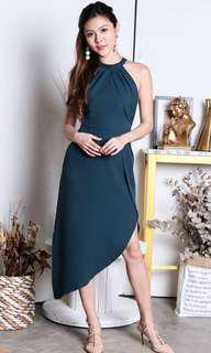 Premium halter asymmetrical dress