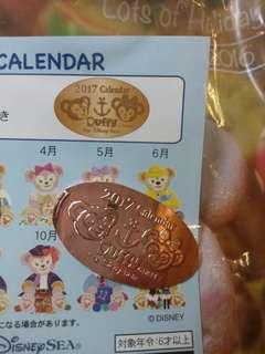 Toyko Disneyland sea 2017 calendar Duffy shelliemay presscoin 東京迪士尼海洋 達菲熊 雪梨玫 月曆限定 紀念幣