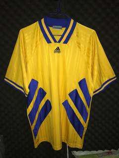 Adidas equipment 黃色藍色 經典排骨 古著 vintage soccer football shirt kit jersey 波衫 足球衣