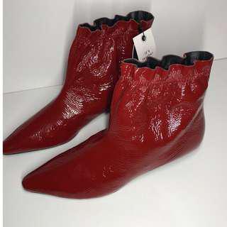zara red kitten ankle heels