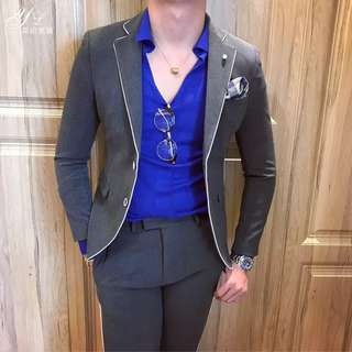 Mens Blue Blazer black blazer long pant long sleeve 1 set