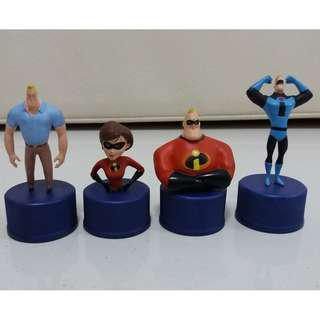 The Incredibles Pepsi Bottle Cap Action Figures Set