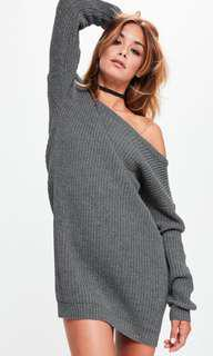 Missguided Off-Shoulder Knitted Sweater Dress