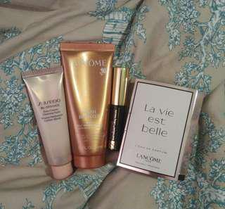 Lancome Shiseido Esteelauder Travel Size Bundle: Cleansing Foam + Self Tanning + Mascara + Perfume