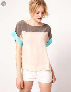 French Connection silk colour block t-shirt blouse - size 2