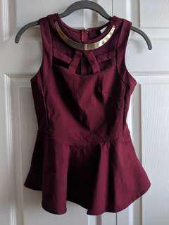 Burgundy Red Peplum Top