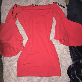 Red flared arms dress