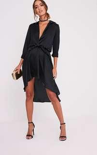 PLT Black Silky Wrap Midi Dress