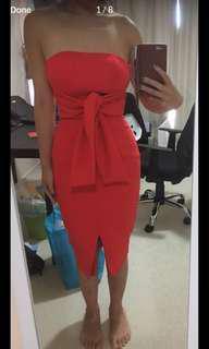 Wardrobe Clearance! - Sheike Gorgeous Red Midi Dress Size 6 - optional choker