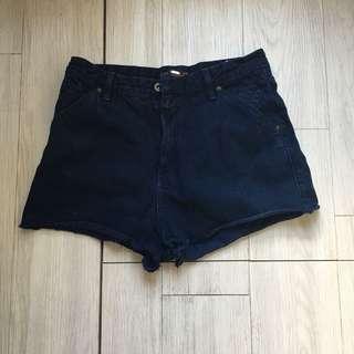 Pull & Bear Navy Blue High Waist Shorts