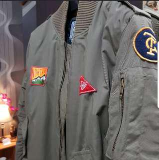 Jaket bomber distro size S mulus green Army