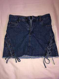 denim tie up skirt