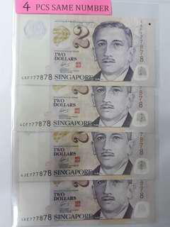 Singapore 4 pcs same number of $2 notes