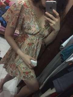 V Neck Flower dress