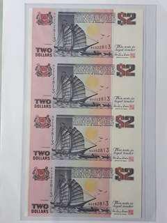 Singapore 4 pcs $2 Uncut notes.